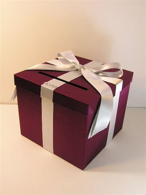 Burgundy and Silver Wedding Card Box Gift Card Box by