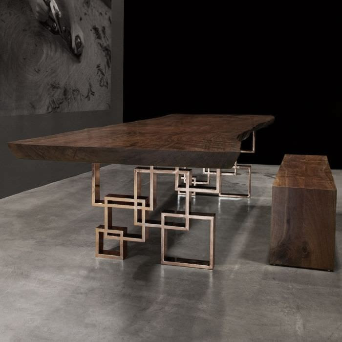 Contemporary table in reclaimed wood - SQUARES - Hudson Furniture