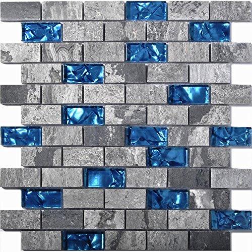Ocean Blue Glass Nature Stone Tile Kitchen Backsplash 3D ...