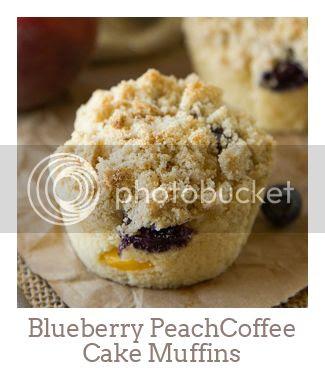 """Blueberry Peach Coffee Cake Muffins"""