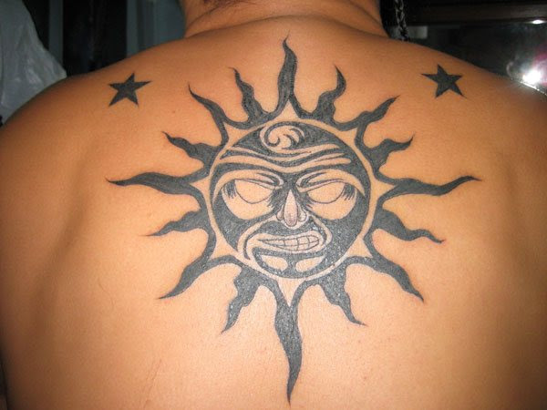 Black And Grey Sun Tattoo