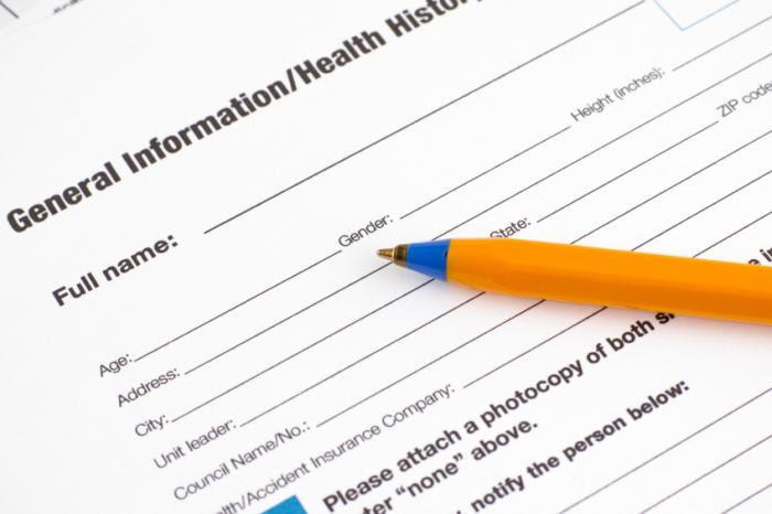 Health registration form.