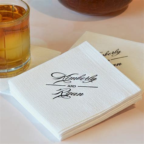 Luxury Beverage Napkins   Personalized Linen Like