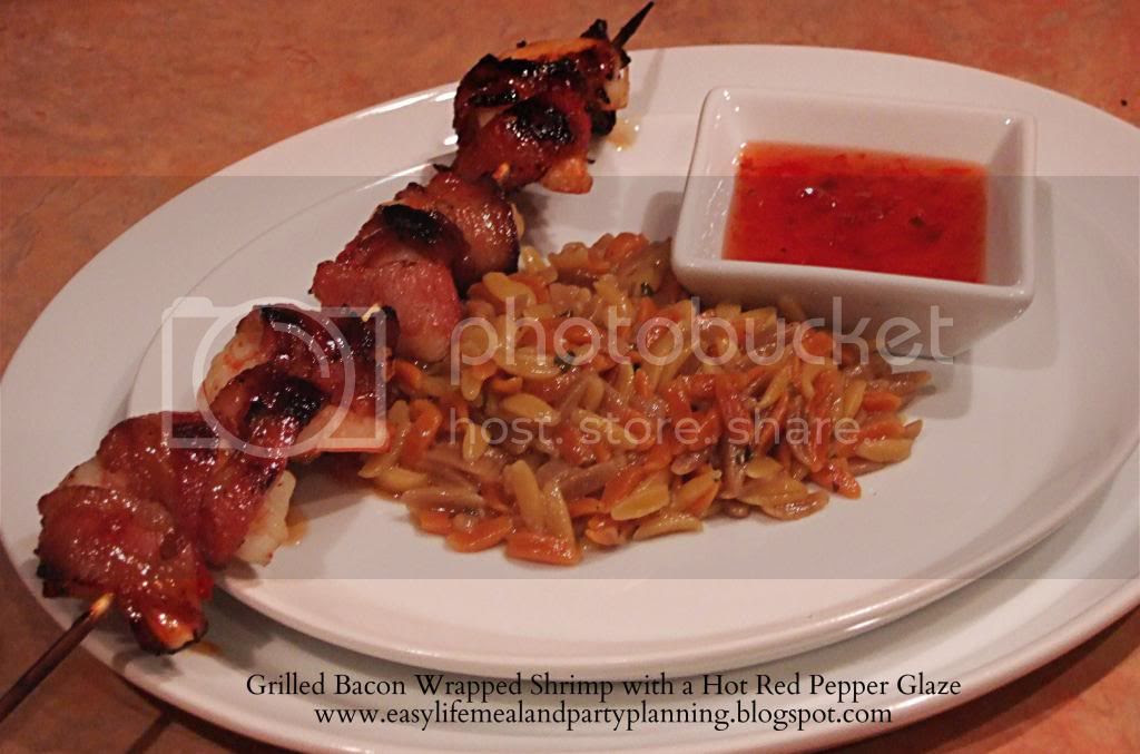 Grilled Bacon wrapped Shrimp with a Hot Red Pepper Glaze - Easy Life Meal & Party Planning