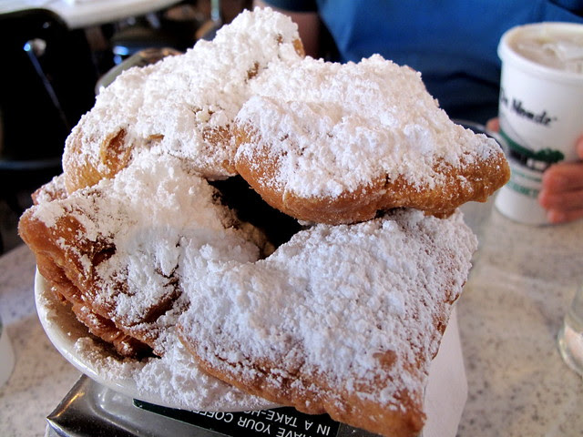 A double order of Cafe du Monde beignets.