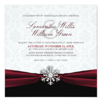 Burgundy Ribbon Winter Wedding Invitation