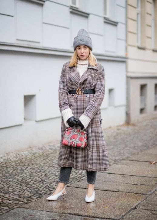 Le Fashion Blog Acne Studios Grey Beanie Checkered Long Coat Gucci Belt Cream Turtleneck Dark Grey Jeans White Slingback Heels Via Stylecaster