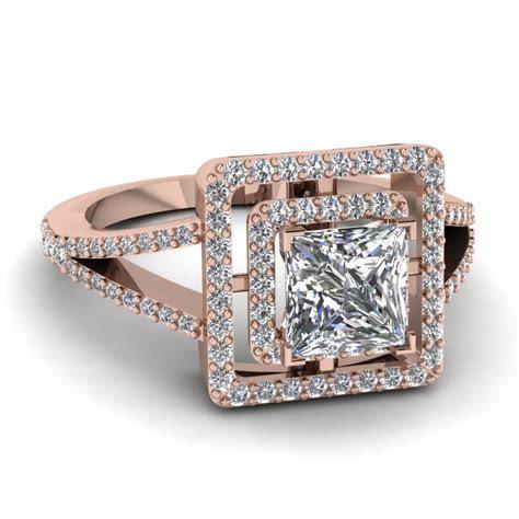 Princess Cut Diamond Engagement Ring In 18K Rose Gold