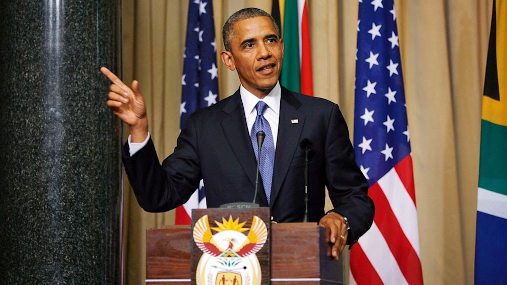 U.S. President Barack Obama and South African President Jacob Zuma, not pictured, address a press conference following their meeting at Union Building in Pretoria, South Africa, Saturday June 29, 2013.