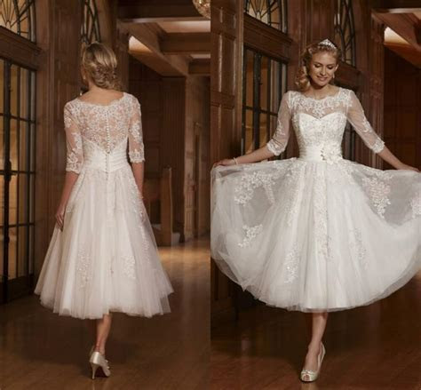 Tulle 3/4 Sleeve Applique Bridal Gown Tea Length Wedding