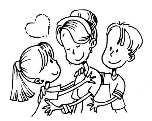 Mama Con Su Hija Y Su Hijo Para Pintar Y Colorear Muestra De Amor A