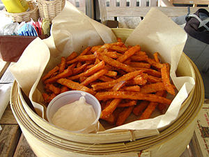 Picture of fries made from sweet potatoes.