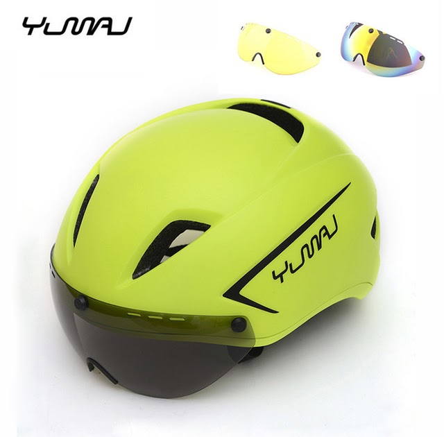 290g Aero TT Road Bicycle Helmet with Goggles Cycling Bike Safety Helmets Lens