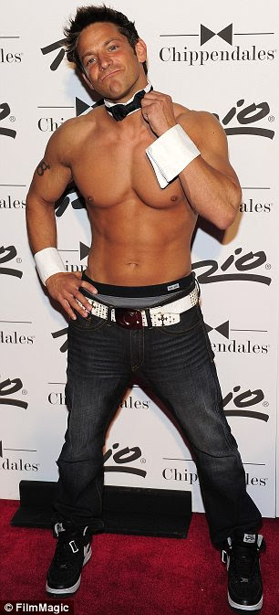 I'll Give it all: Jeff Timmons as former Chippendale dancer in Vegas 2010, then pictured 2013 as co-creator, host, and performer of new male review, 'Men of the Strip'