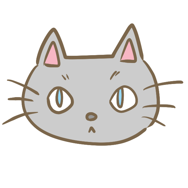 猫の顔 グレー のイラスト かわいいフリー素材が無料のイラストレイン