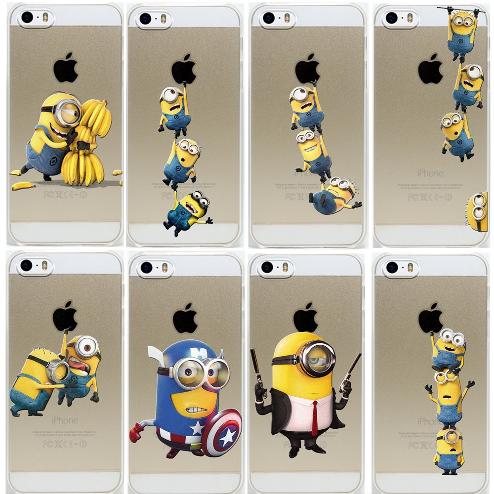 Super Hot Minions Design For Iphone 5 5s Case Hard Transparent Cover