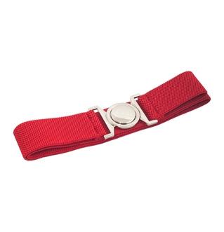 Plus size Round Buckle Elastic Belt Red
