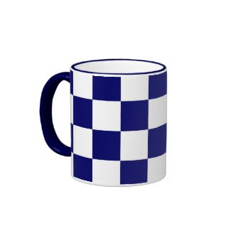 Checkered Navy and White Coffee Mug