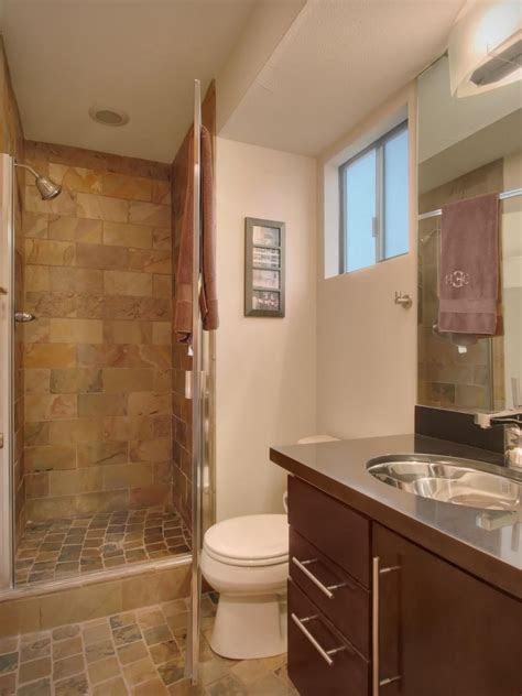 small bathroom features earth tone tile hgtv