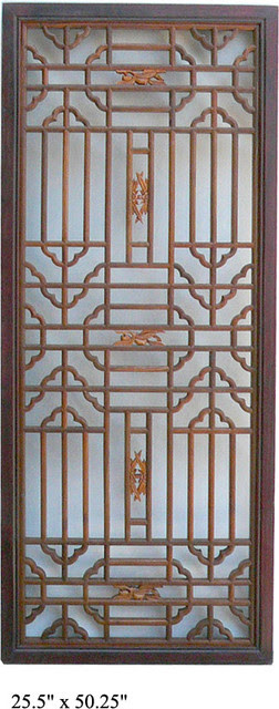Chinese RuYi Two Colors Geometric Wood Panel Plaque