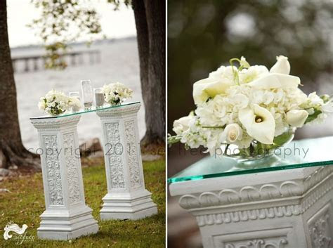 sand ceremony glass table white flowers unity white