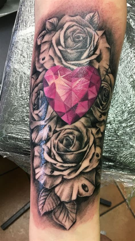 rose diamond pink tattoo sleeve tattoos forearm