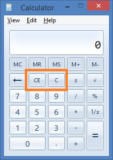 On calculator, the C (clear) button is to clear all entry, whereas the CE (clear entry) button is to clear the most recent entry only.