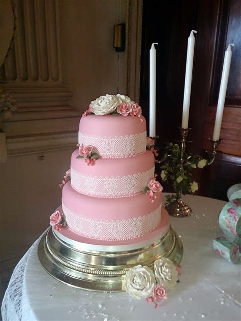 3 Tier Lace Wedding Cake with Peonies « Susie's Cakes