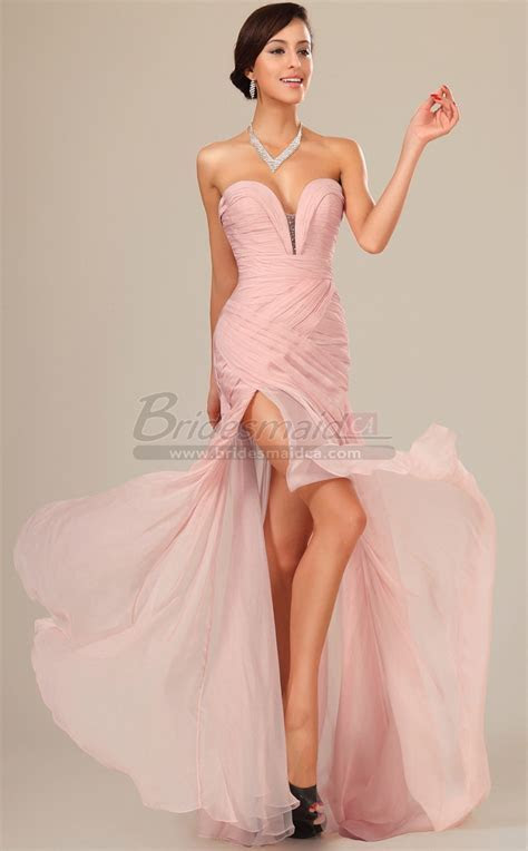 Pastel Pink Long Silk Like Chiffon Sweetheart Neckline