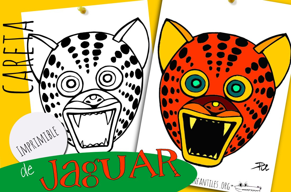 Máscara De Jaguar Actividades Para Niños Manualidades Fáciles Y