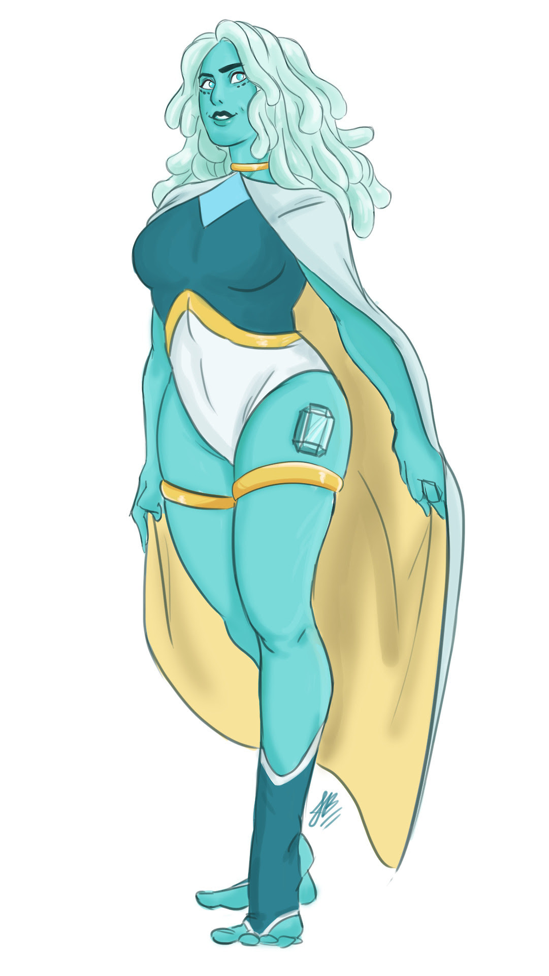 A new Gemsona I'm working on for Amino, so this is Aquamarine. Hope you guys will like her :3