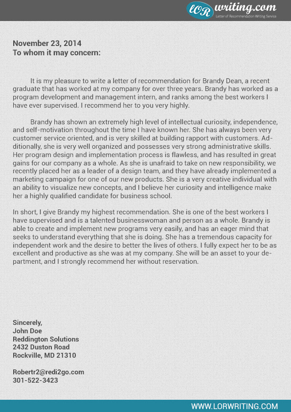 business school recommendation letter sample letters of recommendation ...