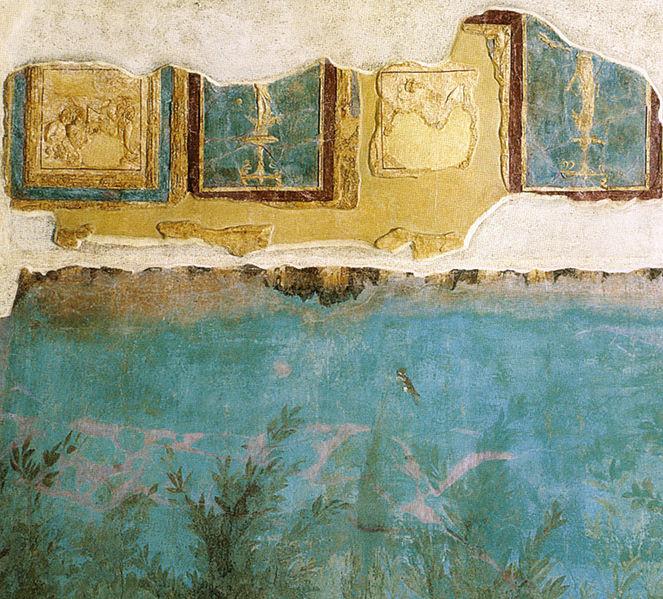 File:Villa di livia, affreschi di giardino, dettaglio degli stucchi sulla parete orientale.jpg