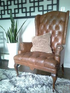 Lilly's Home Designs: Living room working with what we have tufted leather wing back chair