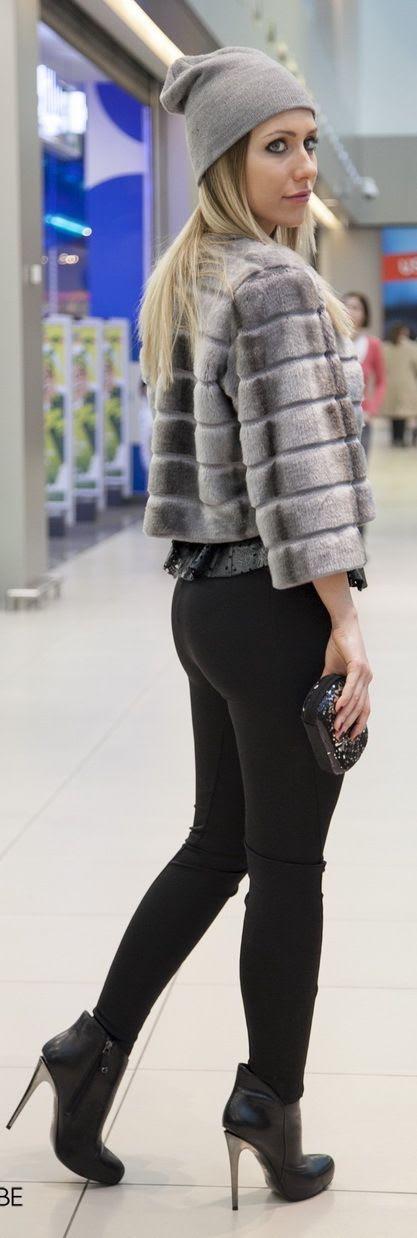 Grey Fur Jacket Outfit - Stasha Fashion