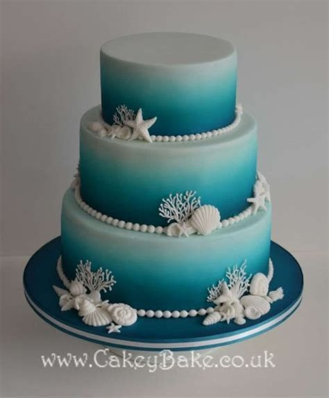 Airbrushed Sea Themed Wedding Cake by CakeyBake (Kirsty