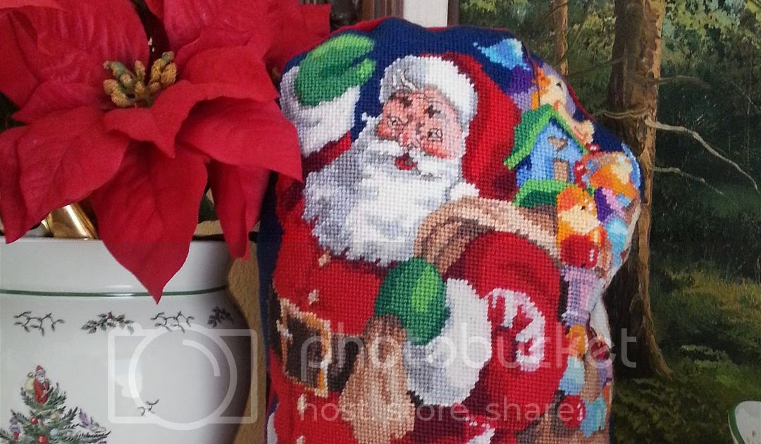 Finished for Friday: Santa Needlepoint Pillow