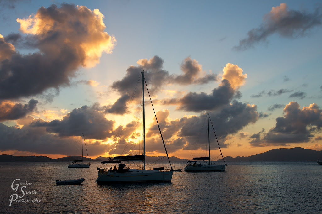 cooper island sunset photography sailboat