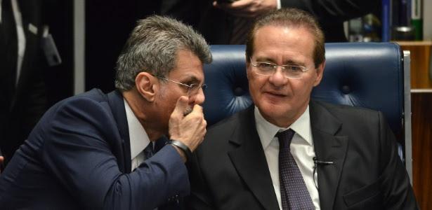 Os senadores Romero Jucá (à esq.) e Renan Calheiros