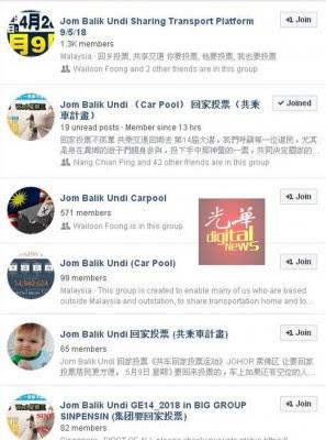 脸书上有多个号召游子返乡投票的专页。