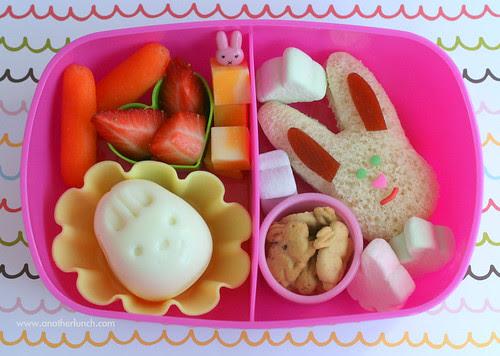 3rd birthday bunny themed bento lunch for preschooler