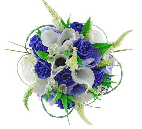 Bridal Wedding Bouquet, Royal Blue Roses, Silk Anemone