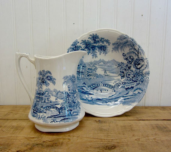 transferware pitcher and basin