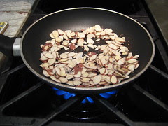 toasting the almonds