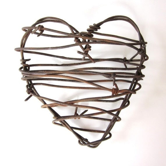 Barbed Wire Valentine Heart -Cowboy's Heart - Valentines Day Western Rusty Heart valentine decorations rustic wedding decor for him