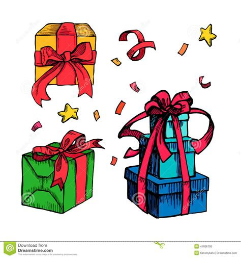 hand drawn christmas card  gift boxes  art stock