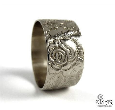Rose Flower 14k White Gold Wedding Band ,wide Victorian