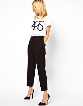 Image 1 of ASOS Smart Peg Trousers with Ruched Waist Detail