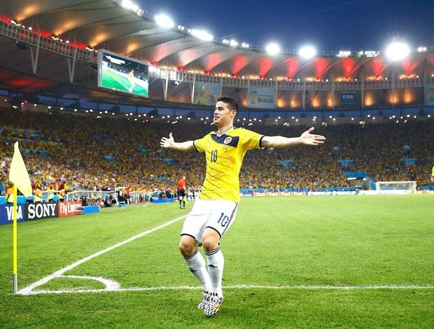 James Rodriguez Colômbia e Uruguai (Foto: Agência Reuters)