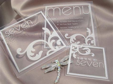 Acrylic plexiglass menu, table number and place card with